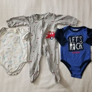 Kids Boys Long Sleve, Short Sleeve Bodysuits